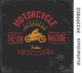 vintage motorbike race   hand... | Shutterstock .eps vector #343399802