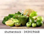 green healthy juice with fruits ... | Shutterstock . vector #343419668