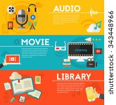 audio production and podcast  e ... | Shutterstock .eps vector #343448966