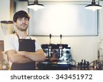 barista cafe coffee shop owner... | Shutterstock . vector #343451972