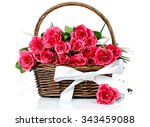 pink roses in the basket on... | Shutterstock . vector #343459088