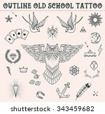 old school tattoo set  owl ...