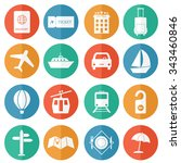 Travel And Tourism Icons Flat...