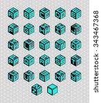 cubic alphabet set. vector... | Shutterstock .eps vector #343467368