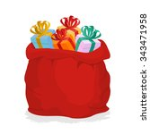 red sack santa claus with gifts.... | Shutterstock .eps vector #343471958