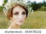 close up portrait of woman face ... | Shutterstock . vector #343478132