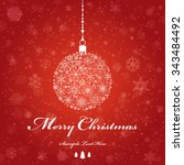 vintage christmas card with... | Shutterstock .eps vector #343484492