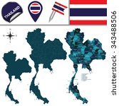 vector map of thailand with... | Shutterstock .eps vector #343488506