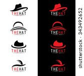 black and red hat logo vector... | Shutterstock .eps vector #343492652