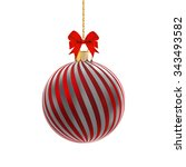 red satin bauble with silver... | Shutterstock .eps vector #343493582