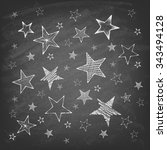 set of hand drawn stars on the... | Shutterstock .eps vector #343494128
