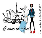 fashion  girl with baggage ... | Shutterstock .eps vector #343495928