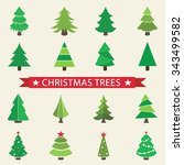 christmas trees | Shutterstock .eps vector #343499582