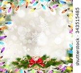 christmas fir tree border over... | Shutterstock .eps vector #343515485