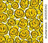 smiling emoticons. seamless... | Shutterstock .eps vector #343535342