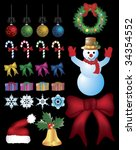 christmas kit with snowman ... | Shutterstock .eps vector #34354552