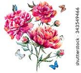 Watercolor Bouquet Of Peonies ...