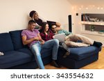 shot of a friends watching... | Shutterstock . vector #343554632