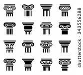 vector column icon set on white ... | Shutterstock .eps vector #343556288