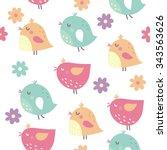 Happy Birds Seamless Vector...