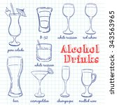 alcohol drinks. hand drawn... | Shutterstock .eps vector #343563965