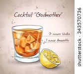 alcoholic cocktail godmother... | Shutterstock . vector #343570736