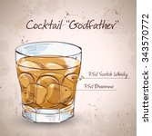 alcoholic cocktail godfather... | Shutterstock . vector #343570772