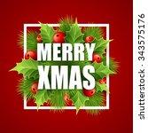 merry christmas lettering card... | Shutterstock . vector #343575176