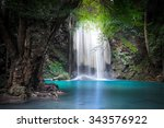 jungle landscape with flowing... | Shutterstock . vector #343576922