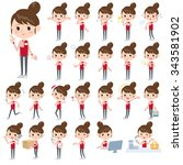 set of various poses of... | Shutterstock .eps vector #343581902