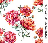 watercolor pattern with flowers ... | Shutterstock . vector #343593476