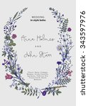 the wreath of wild flowers.... | Shutterstock .eps vector #343597976