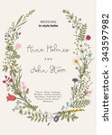 Stock vector the wreath of wild flowers wedding invitation in the style of boho vector vintage illustration 343597982