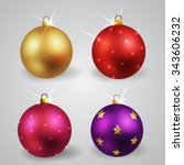 set of christmas decorations... | Shutterstock .eps vector #343606232