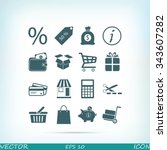 shopping icons | Shutterstock .eps vector #343607282