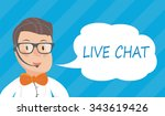 banners with live chat support... | Shutterstock .eps vector #343619426