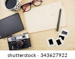 old camera cup of coffee ... | Shutterstock . vector #343627922