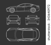 car blueprint front four view... | Shutterstock .eps vector #343640972