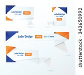 origami 2 color style label set ... | Shutterstock .eps vector #343650992