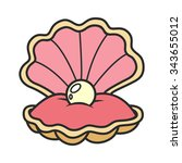 open seashell with pearl   part ... | Shutterstock .eps vector #343655012