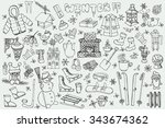 winter season doodle set... | Shutterstock .eps vector #343674362