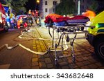 accident on the city road at... | Shutterstock . vector #343682648