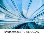 tunnel in tokyo at night... | Shutterstock . vector #343700642
