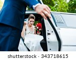 groom open door of limousine...