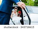 groom open door of limousine...