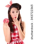 Pin Up Girl Eating Sweet Donut