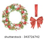 watercolor christmas wreath... | Shutterstock . vector #343726742