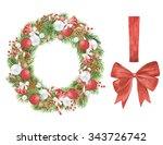 watercolor christmas wreath...   Shutterstock . vector #343726742