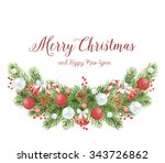watercolor christmas wreath... | Shutterstock . vector #343726862