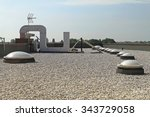 flat roof with gravel and... | Shutterstock . vector #343729058